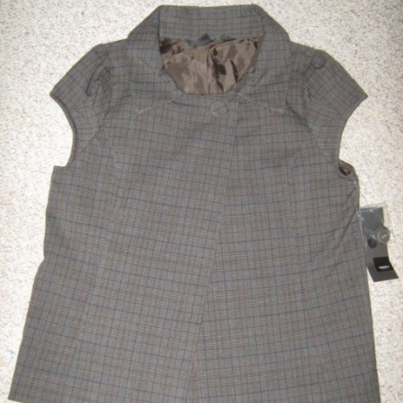 Mossimo Supply Co. Jackets & Blazers - Gray Brown Blue Plaid Cap Sleeve Vest Blazer Top S
